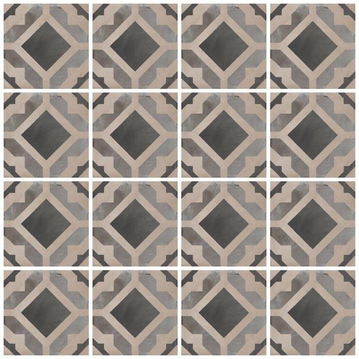Keramische Retrotegel Geometria Graphite | Retrotegelwinkel.nl